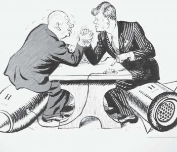 Photo: Plakat zur Ausstellung Kalter Krieg: Ursachen - Geschichte - Folgen (BStA) 2016, hier Karikatur aus der Daily Mail 1962
